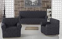 ВСЕ ЦВЕТА!  Комплект чехлов LUX на диван и 2 кресла Жаккардовые Milano Karna,Турция,графит, серый