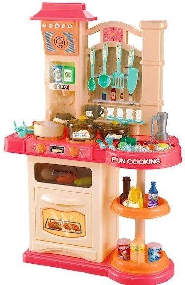 Большая интерактивная детская кухня Bozhi Toys Fun Cooking с водой и холодным паром розовая