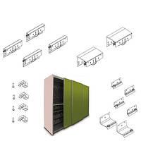 Комплект для 3-х дверного шафи STRONG MIDI (товщина дверей до 30мм) h=17мм, 100кг
