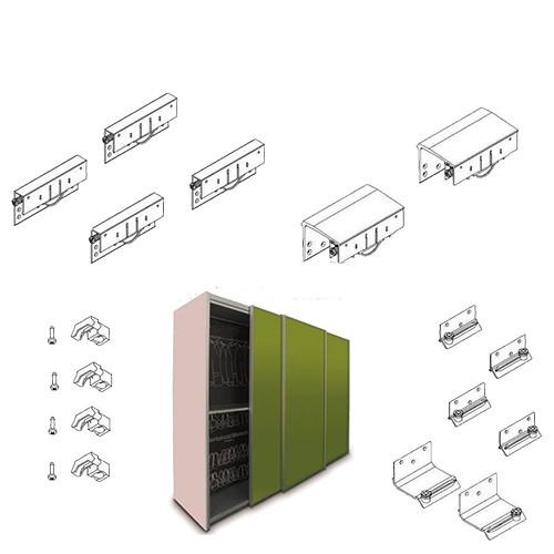 Комплект для 2-х дверного шафи STRONG MAXI (товщина дверей до 35мм) h=33, 100 кг