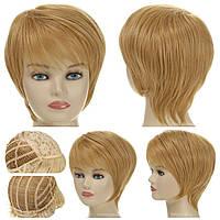 Женский парик короткий стрижка из термоволос 180℃ Kristina AT мелирование цвет блондин с карамельным оттенком
