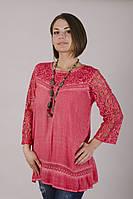 Блузка летняя, женская с гипюром  Индия 54-56 р