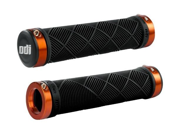 Грипсы ODI Cross Trainer MTB Lock-On Bonus Pack Black w/Orange Clamps, черные с оранжевыми замками