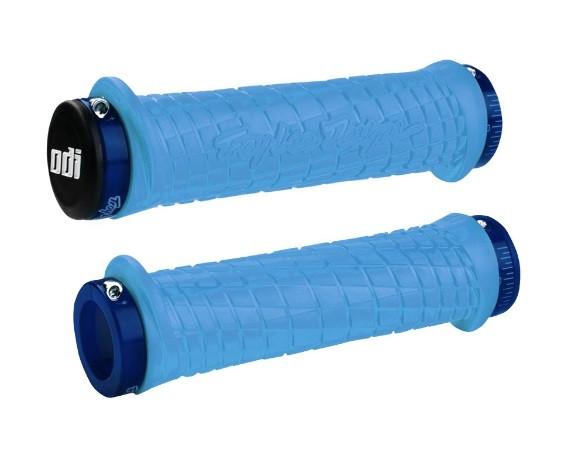 Грипсы ODI Troy Lee Designs Signature MTB Lock-On Bonus Pack Aqua w/Blue Clamps, гол. с син. зам