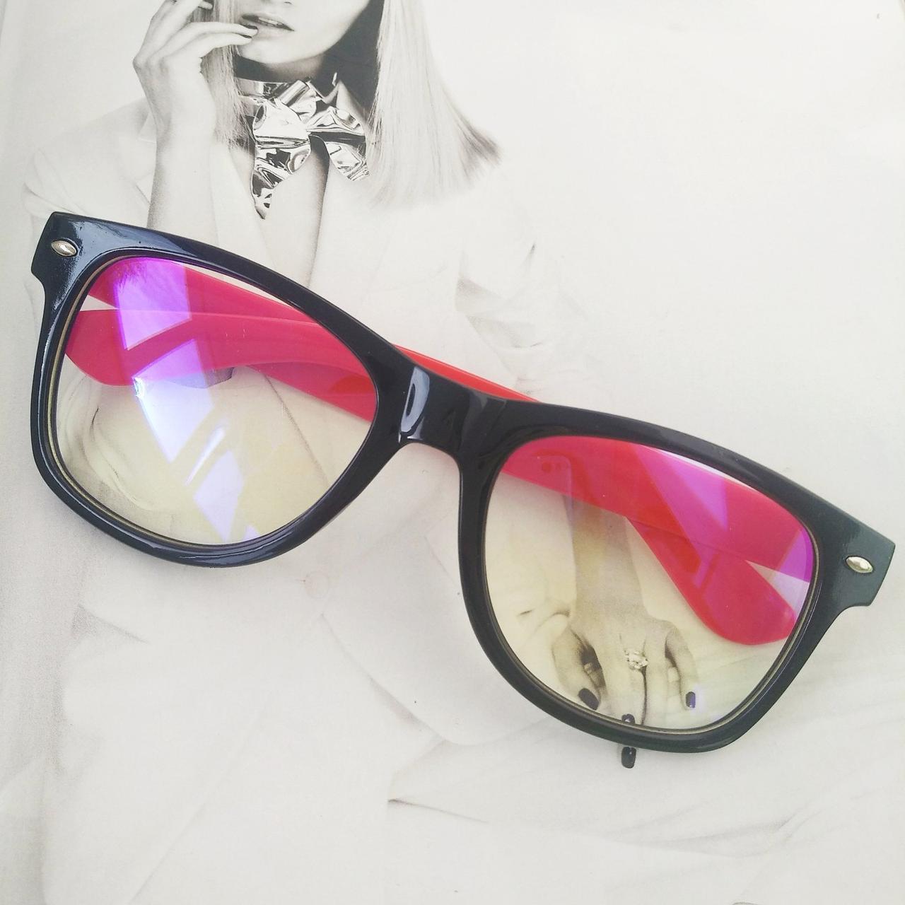 Имиджевые очки с прозрачной линзой анти блик Чёрный+красный