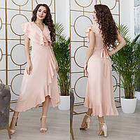 Женское удобное платье на запах со шлейфом софт  42-44 44-46 48-50 52-54 56-58 чёрный шампань пудра лиловый