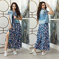 Женское яркое удобное платье с разрезом софт  42-44 44-46 48-50 52-54 56-58 синий хаки марсала чёрный