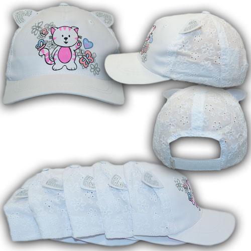 ОПТ Бейсболки с сеткой и ушками для девочки, р. 46-48, 48-50, 50-52 (5шт/упаковка)
