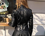 Черная кожаная косуха с необычной спинкой про-во Турция, фото 2