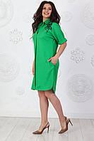 Женское платье рубашка на пуговицах, большие размеры, арт. 454, цвет изумрудно зеленый