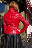 Красная кожаная косуха с молниями про-во Турция, фото 2