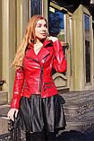 Красная кожаная косуха с молниями про-во Турция, фото 4