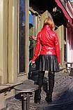 Красная кожаная косуха с молниями про-во Турция, фото 7
