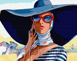 """Картина по номерам Люди """"В широкополой шляпе"""", 40х50 см, 3*"""