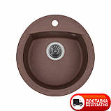 Гранитная мойка Granado Ronda marron 47х49 коричневая, фото 2