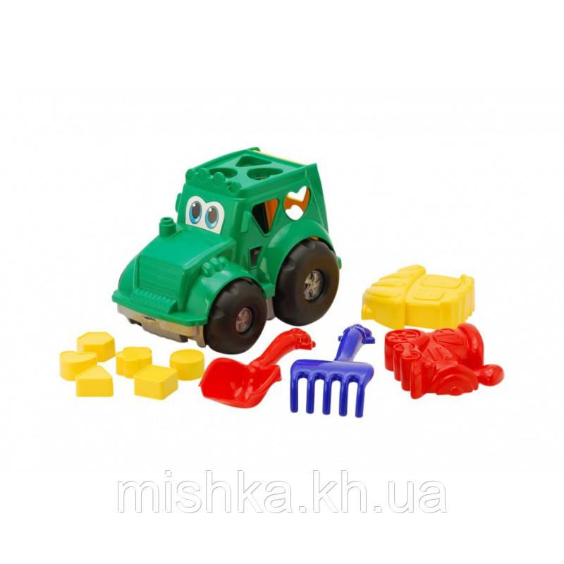 """Сортер-трактор """"Кузнечик"""" №2: трактор с вкладышами, лопатка и грабельки (ЛГ4), две большие пасочки (П4)"""