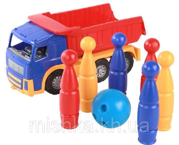 "Машинка ""Акрос"" самоскид №3: машинка, кеглі ""Павутинка"" шість штук, куля"