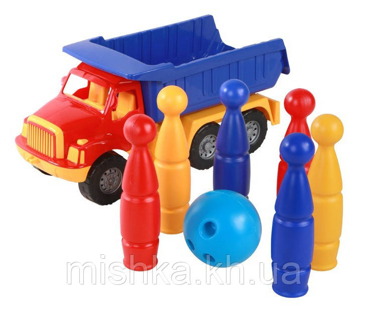 """Машинка """"Магирус"""" самосвал №3: машинка, кегли """"Паутинка""""  шесть штук, шар"""
