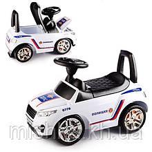 Машина-каталка RR (Белый - Полиция), открывается капот, сиденье, светятся фары, муз.руль, в коробке