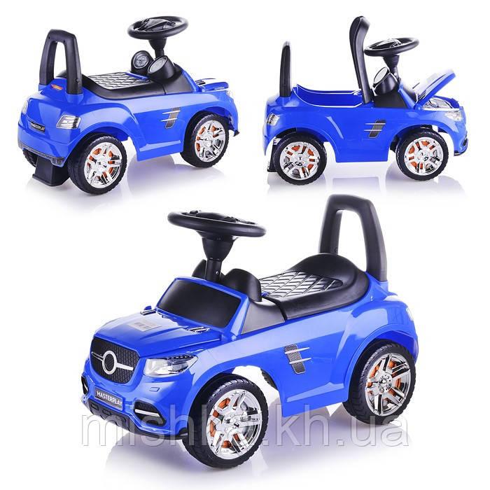 Машина-каталка Master Play  (синяя), открывается капот, сиденье, без муз., ПВХ пакет
