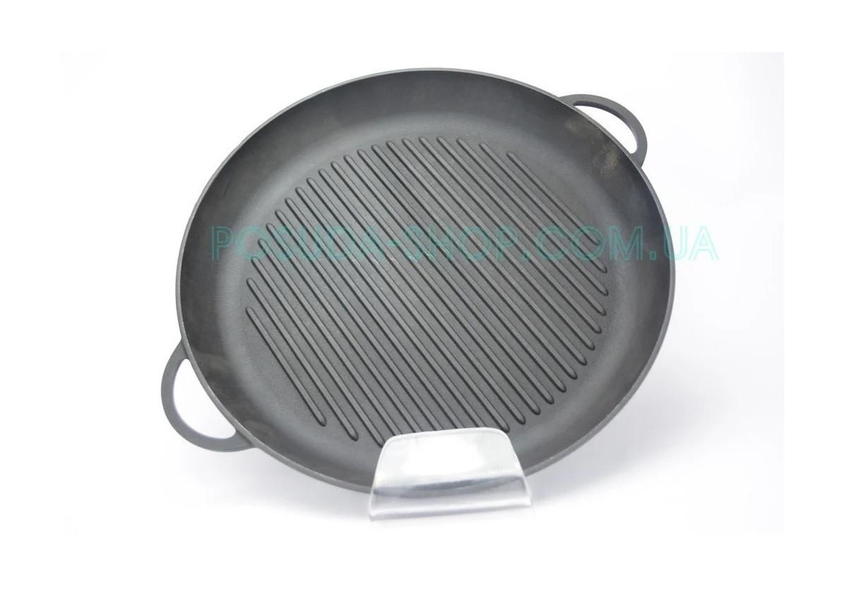 Сковорода гриль чавунна Сітон кругла з двома литими ручками 34 см Г340