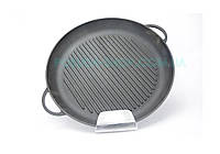 Сковорода гриль чавунна Сітон кругла з двома литими ручками 34 см Г340, фото 1