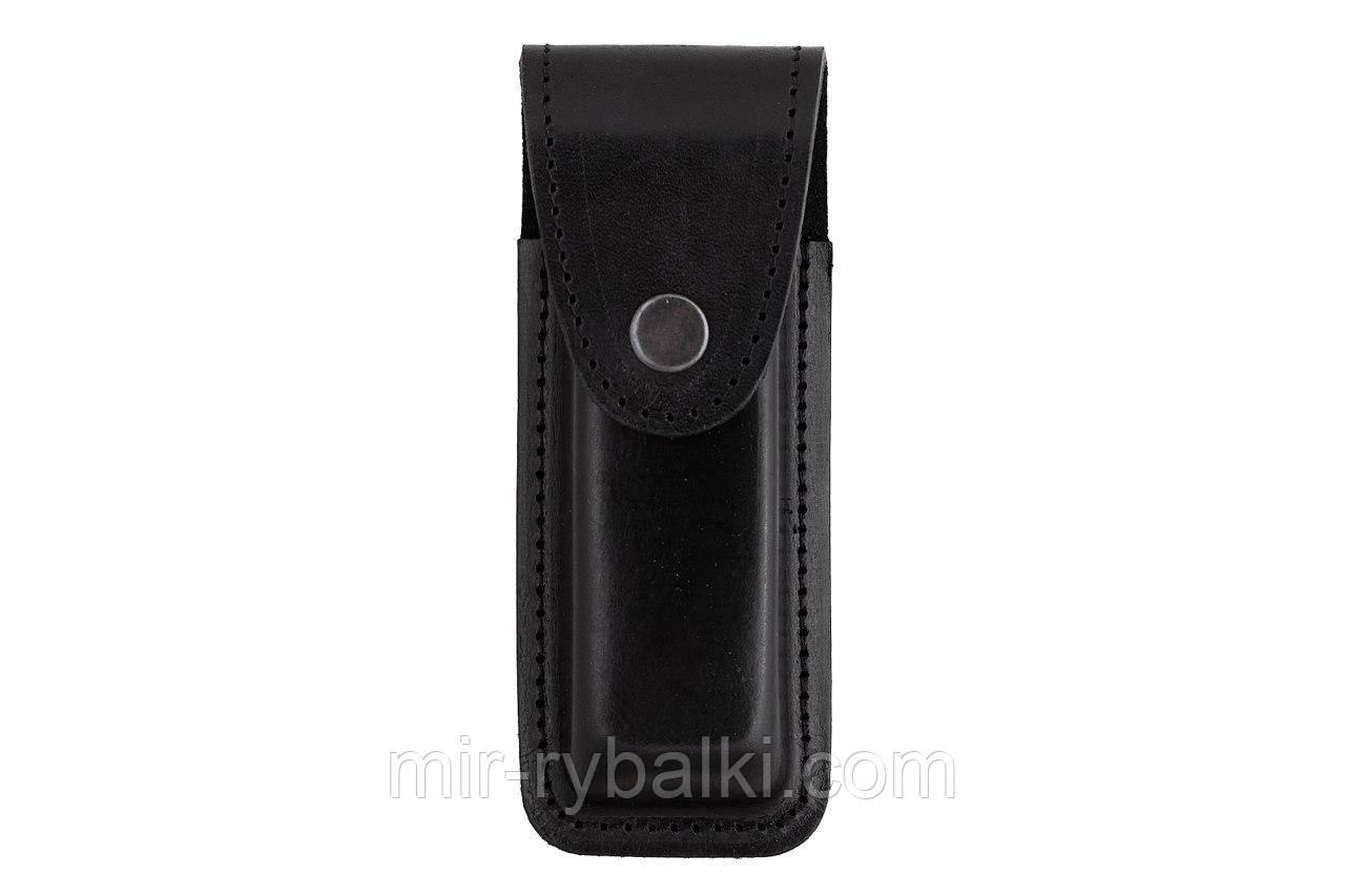 Подсумок, чехол для магазина ПМ (пистолет Макарова) формованный кнопка А (кожа, чёрный)