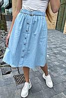 Стильная юбка миди на пуговицах  LUREX - голубой цвет, L (есть размеры), фото 1