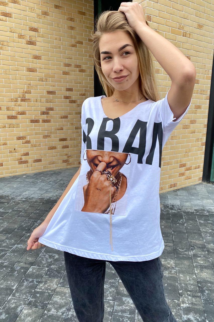 Хлопковая женская футболка с принтом и брошью  Crep - белый цвет, S (есть размеры)