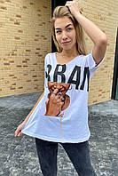 Хлопковая женская футболка с принтом и брошью  Crep - белый цвет, L (есть размеры), фото 1