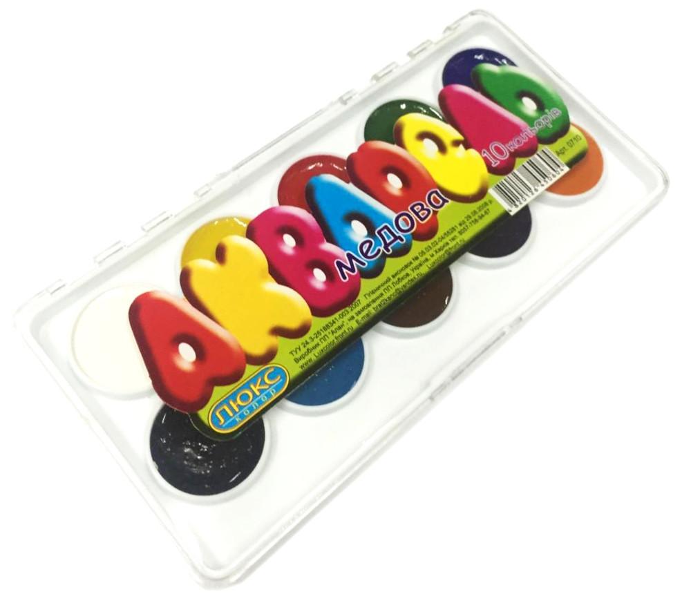 Акварельные краски ЛЮКС КОЛОР (10 цветов) для детского творчества, в пластике