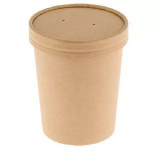 Емкость одноразовая для супа/мороженого с крышкой 360 мл. 25 шт/уп. крафтовая, коричневая