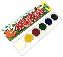 Акварельные краски ЛЮКС КОЛОР (6 цветов) для детского творчества