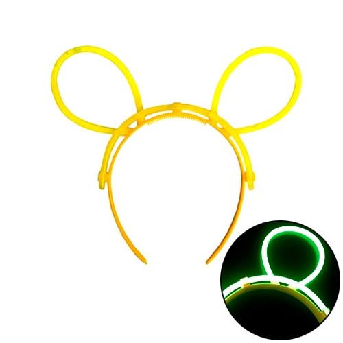 Неоновый обруч с ушками рожками универсальный, светящийся 2005-05635