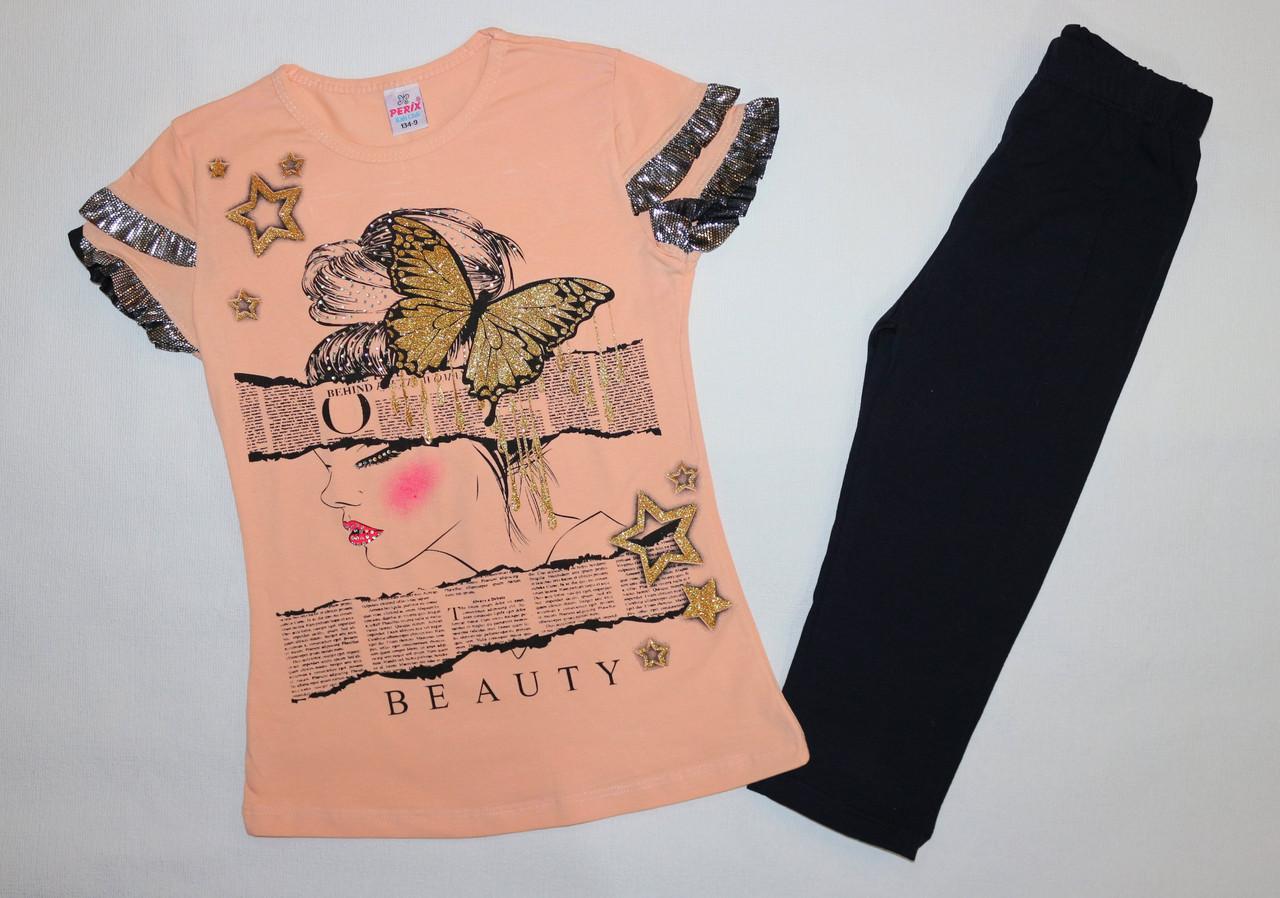 "Летний костюм на девочку ""Бабочка"" 9,10,11,12 лет 100 % хлопок"