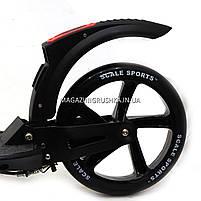 Двоколісний самокат Scale Sports D-Max-9 з ручним гальмом - Чорний, фото 4