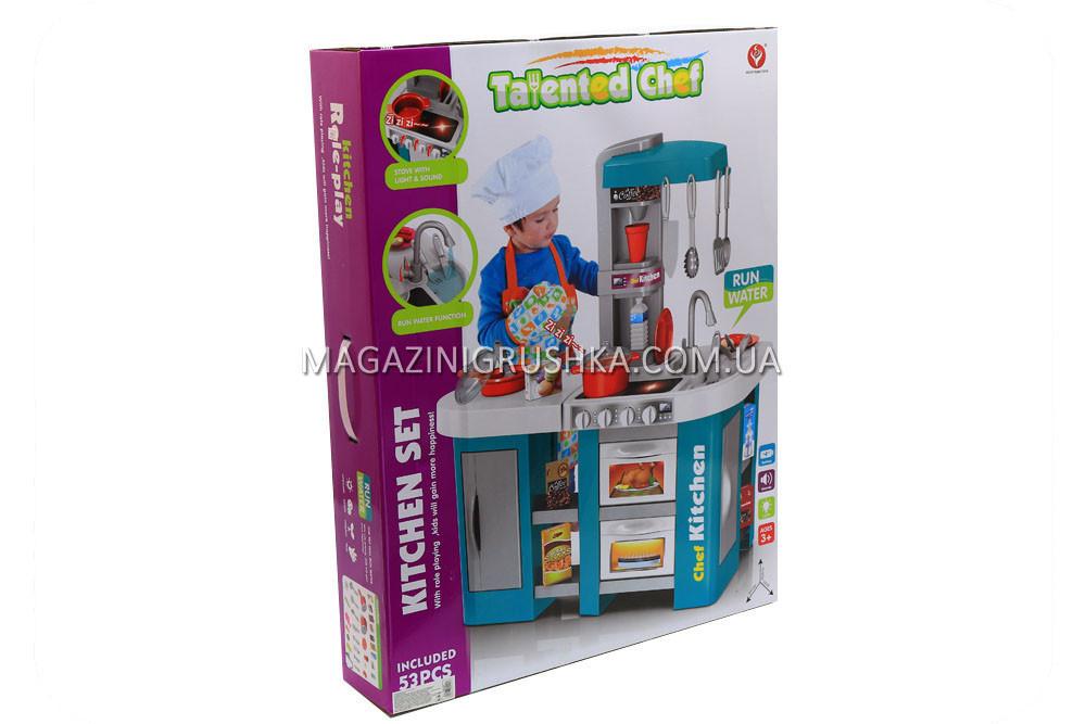 Детская игрушечная кухня с посудой Мятная (свет, звук, вода) 53 элемента арт. 922-47