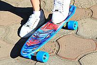 Скейтборд (скейт) Голубой с бесшумными колесами MS 0298