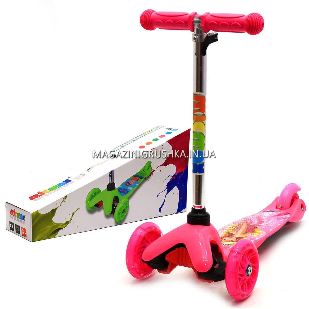 Детский транспорт Самокат с героями мультфильмов 17062 светящиеся колеса - Барби