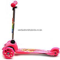 Детский транспорт Самокат с героями мультфильмов 17062 светящиеся колеса - Барби, фото 7
