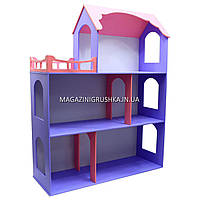Игрушечный кукольный деревянный домик Илона Фиолетово-розовый (большой). Обустройте домик для кукол, фото 1