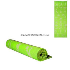 Коврик для йоги и фитнеса Салатовый MS1845