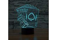 3D светильник  ночник 1096 (Покер)