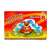 "Пластилин ""Мультики"", кор., Стек, 160 грамм , 8 цветов"