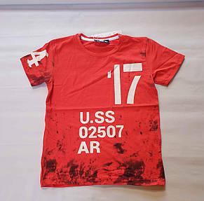 Футболка на мальчиков 152,158,164 роста U.SS красная, фото 2