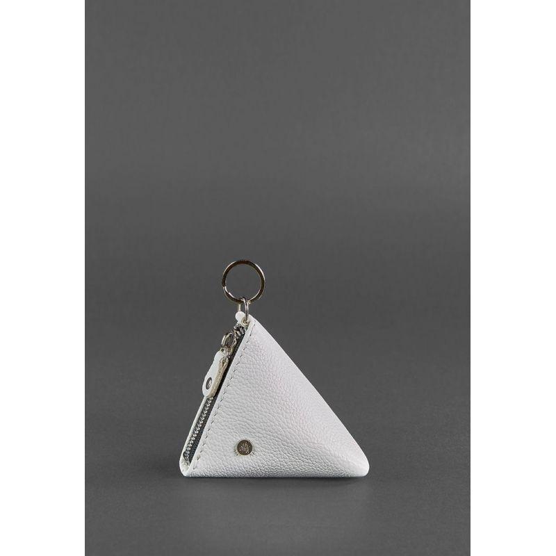 Женская кожаная монетница 2.0 Пирамида белая
