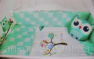 """Постельный комплект в кроватку """"сова"""" зеленый"""