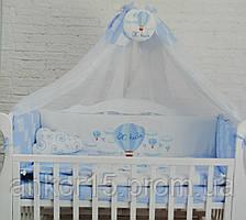 """Постельный комплект в кроватку """"путешественник"""" синий"""
