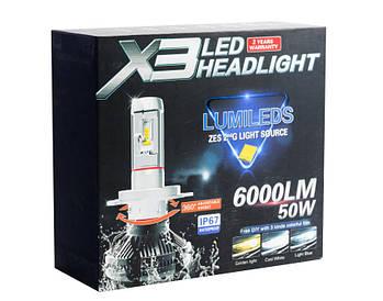 Автомобильные Лед лампы X3 H4 (6000Lm 6500K) + 2 цветовых фильтра