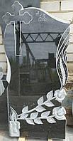 """Памятник гранитный """"крест, розы  свеча"""""""